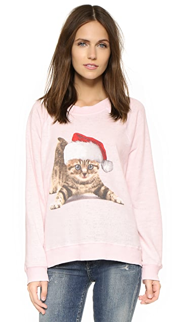 Wildfox Christmas Sweatshirt.Meowy Christmas Sweatshirt