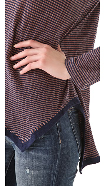 Wilt Uneven Crew Slouch Stripe Top