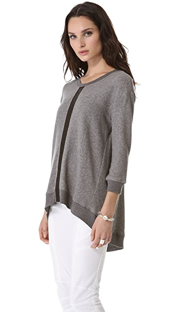 Wilt Shrunken Leather Mix Sweatshirt
