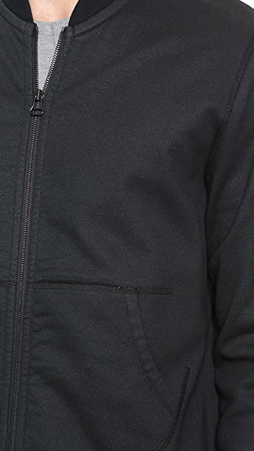 Wings + Horns Coated Terry Bomber Jacket