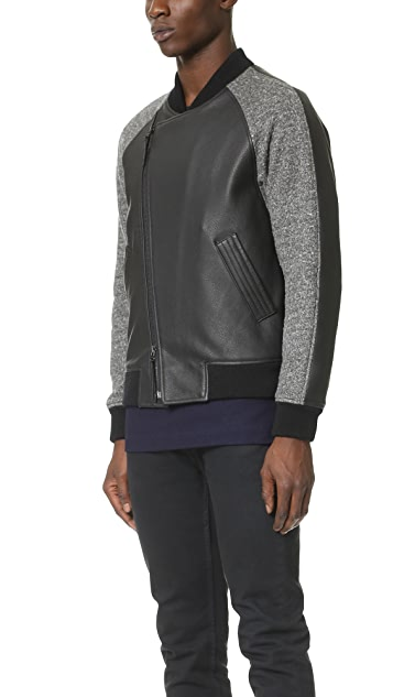 Wings + Horns Knit Wool & Leather Bomber Jacket
