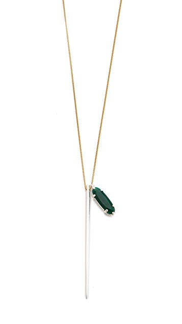 Wouters & Hendrix Green Agate & Spike Necklace