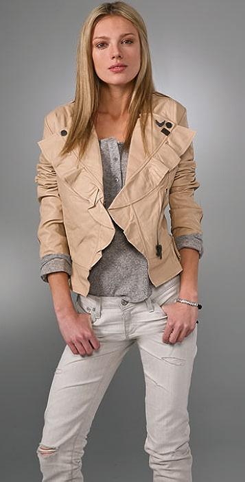 William Rast Ruffle Leather Jacket