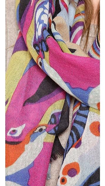 YARNZ Rainbow Birds Cashmere Scarf