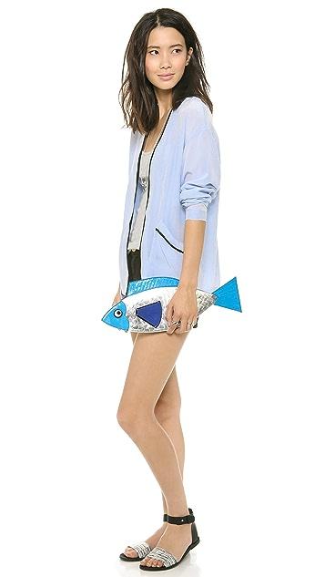 Yazbukey Donna Sardina Mirror Leather and Plexi Fish Clutch