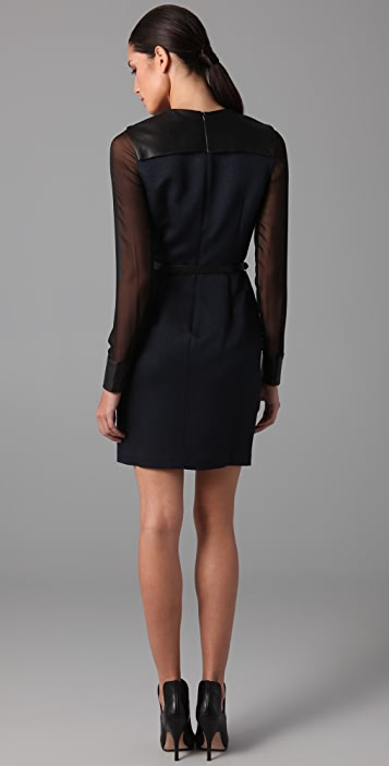 Yigal Azrouel Cloque Leather Dress with Belt