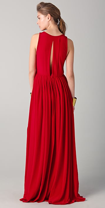Yigal Azrouel Full Skirt Maxi Dress with Slits