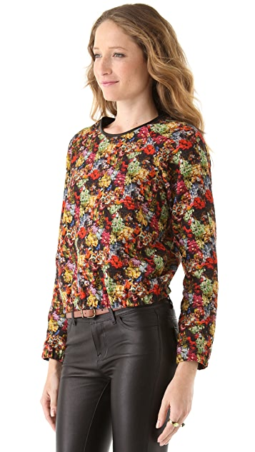 Yigal Azrouel Floral Burnout Gathered Pullover