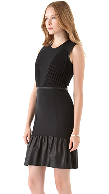 Yigal Azrouel Pleated Wool & Leather Dress