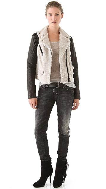 Yigal Azrouel Shearling & Leather Coat