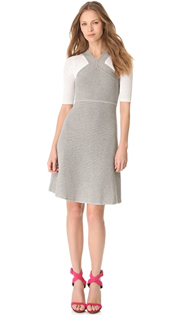Yigal Azrouel Open Waffle Knit Dress