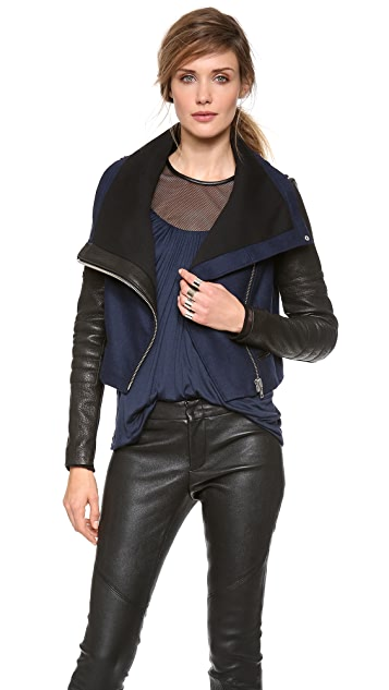 Yigal Azrouel Felt Jacket with Leather Sleeves