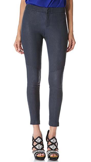 Yigal Azrouel Textured Leather Ankle Pants