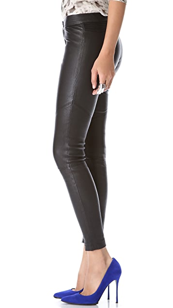 Yigal Azrouel Black Leather Pants with Tubular Detail