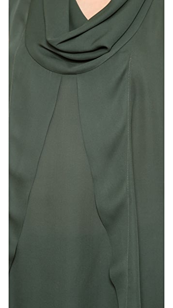 Yigal Azrouel Crepe Georgette Top with Scoop Neck