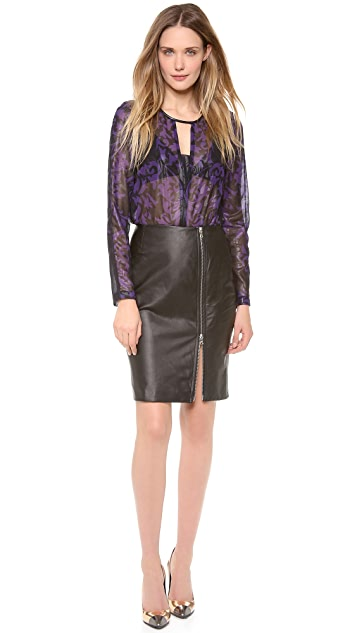 Yigal Azrouel Brocade Chiffon Top