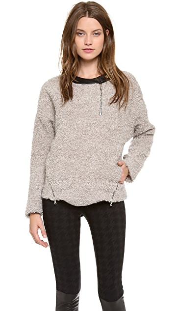 Yigal Azrouel Merino Boucle Top with Leather Trim