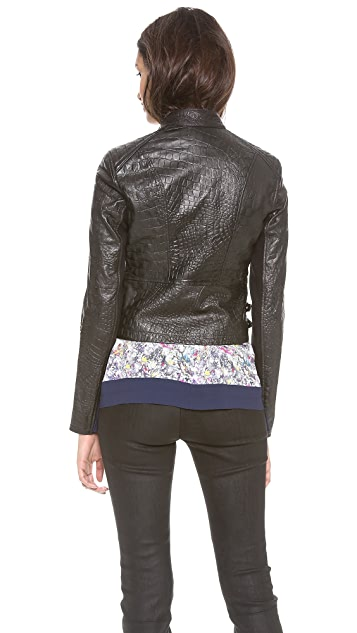 Yigal Azrouel Reptile Leather Moto Jacket