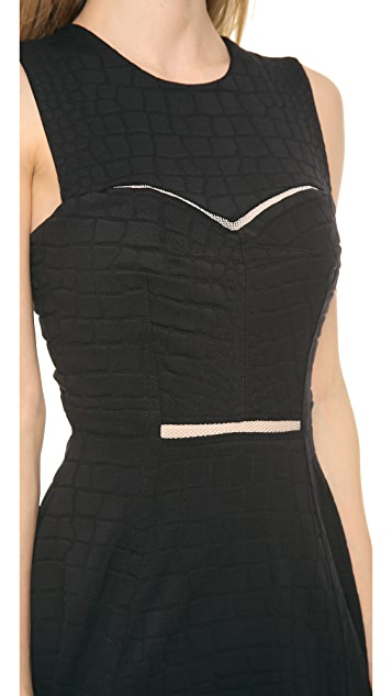 Yigal Azrouel Stretch Black Python Dress