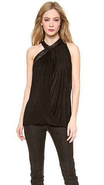 Yigal Azrouel Black Drapey Top