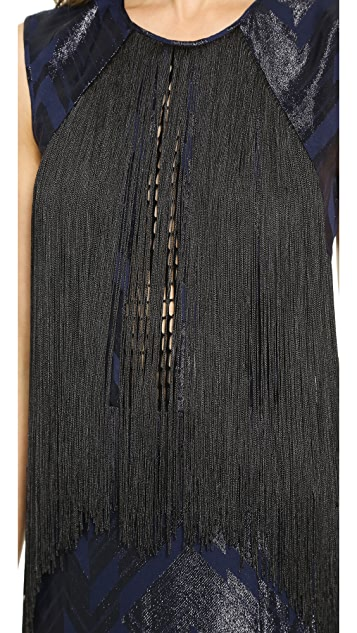 Yigal Azrouel Chevron Fringe Combo Gown