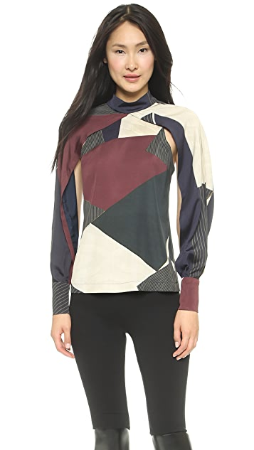 Yigal Azrouel Block Print Cape Top