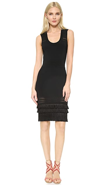 Yigal Azrouel Scoop Neck Rib Fringe Dress