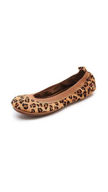 Yosi Samra Leopard Elastic Top Line Ballet Flats