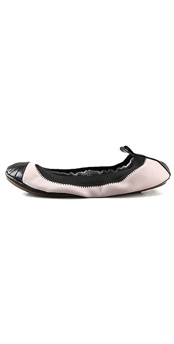Yosi Samra Elastic Top Line 2 Tone Ballet Flats