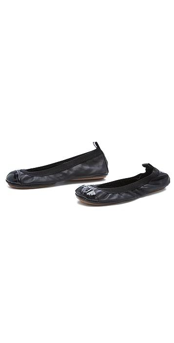 Yosi Samra Elastic Patent Cap Toe Flats