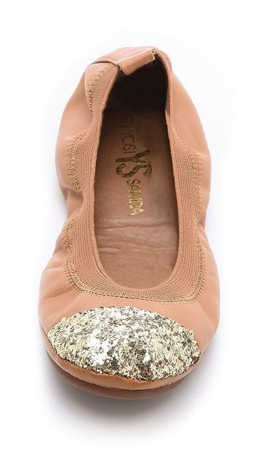 Yosi Samra Glitter Cap Toe Ballet Flats