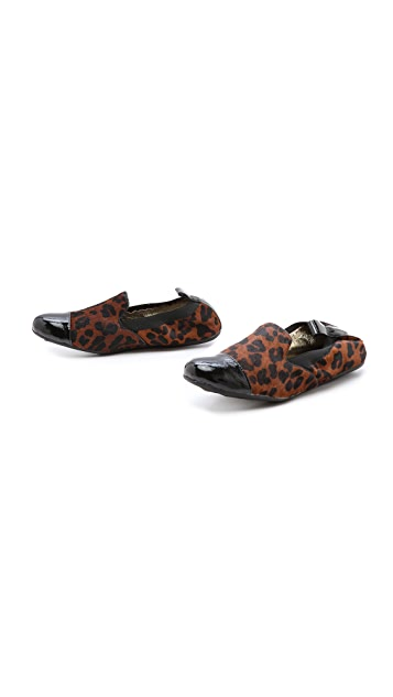 Yosi Samra Haircalf Smoking Slippers with Cap Toe