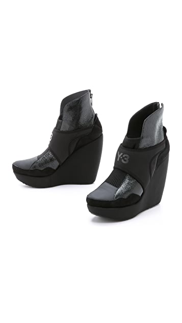 Y-3 Shell Wedge Booties