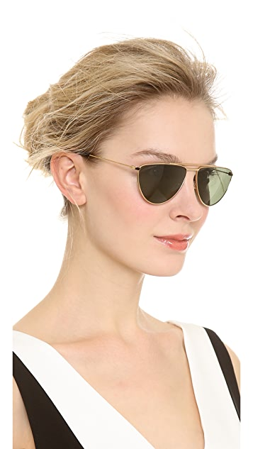 Saint Laurent Flat Top Aviator Sunglasses