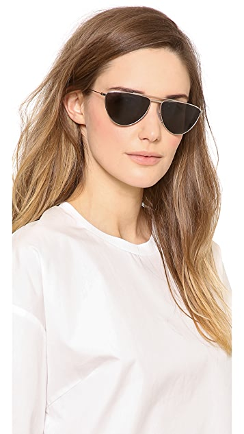 de96ef18df505 ... Saint Laurent Flat Top Aviator Polarized Sunglasses ...