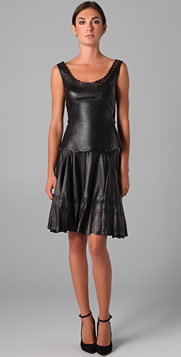 Zac Posen Laser Cut Leather Tank