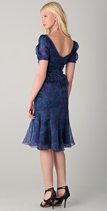 Zac Posen Short Sleeve Floral Dress