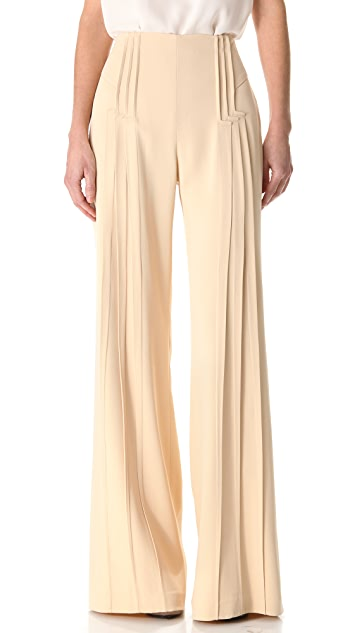 Zac Posen Pintuck Wide Leg Pants
