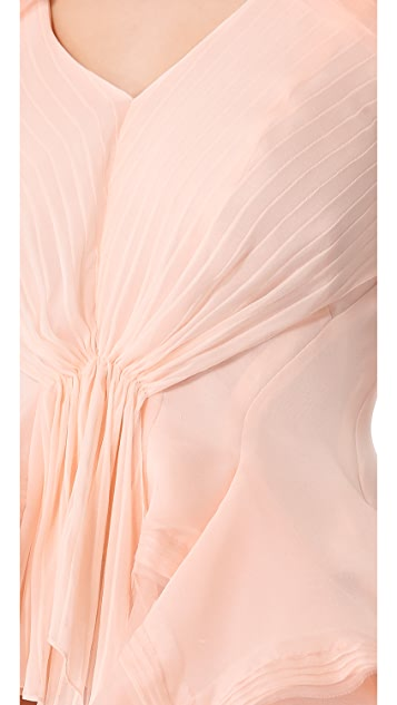 Zac Posen Short Sleeve Silk Blouse