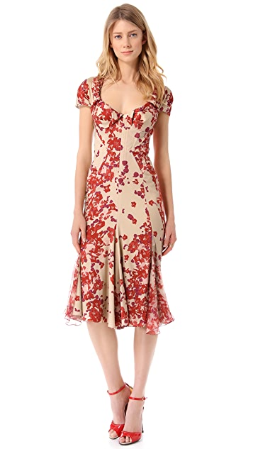 Zac Posen Short Sleeve Print Dress