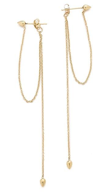 Zoe Chicco Hanging Chain Bullet Stud Earrings
