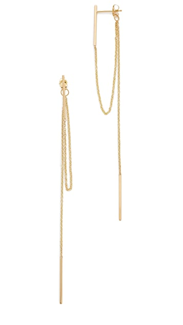 Zoe Chicco Connecting Fringe Chain Vertical Bar Earrings