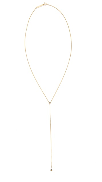 Zoe Chicco 14k Gold Lariat Necklace with Black Princess Diamonds