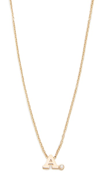 Zoe Chicco 14k Gold Initial Diamond Necklace