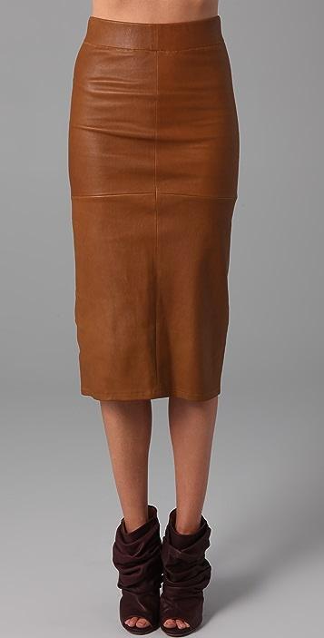 Zero + Maria Cornejo Long Spiral Leather Skirt