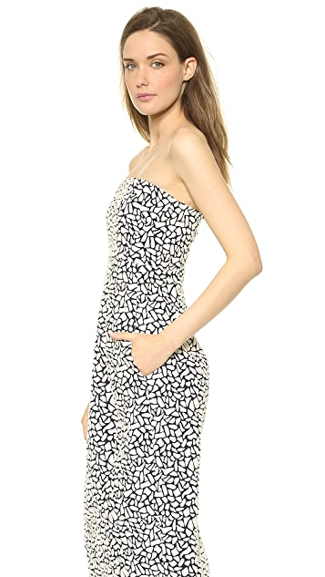 Zero + Maria Cornejo Pebble Jacquard Strapless Biri Dress