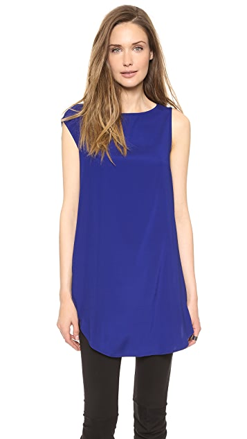 Zero + Maria Cornejo Silk Side Drape Tunic Dress