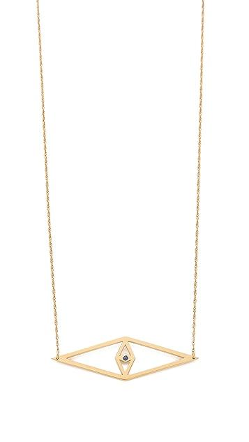 Jennifer Zeuner Jewelry Diamond Sapphire Eye Necklace