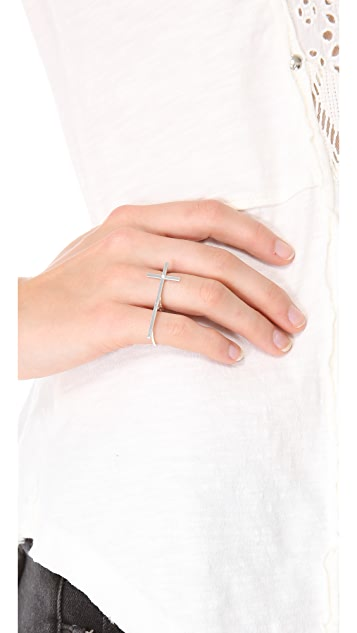 Jennifer Zeuner Jewelry Double Finger Cross Ring