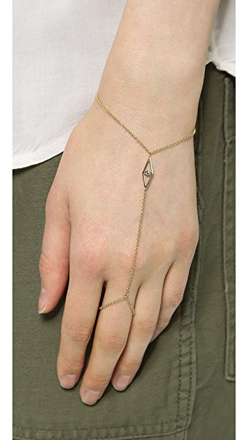 Jennifer Zeuner Jewelry Mini Eye with Sapphire Hand Chain